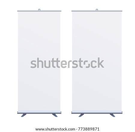 Set Roll Up Banner Stand on isolated clean background. Design template blank pop up banner display template for designers. Vector illustration EPS10. Flipchart for training or promotional presentation