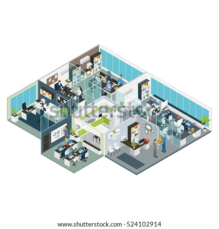 set room office isometric with