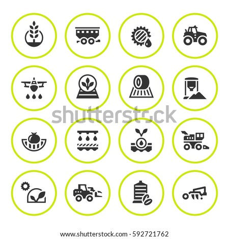 Set round icons of agriculture