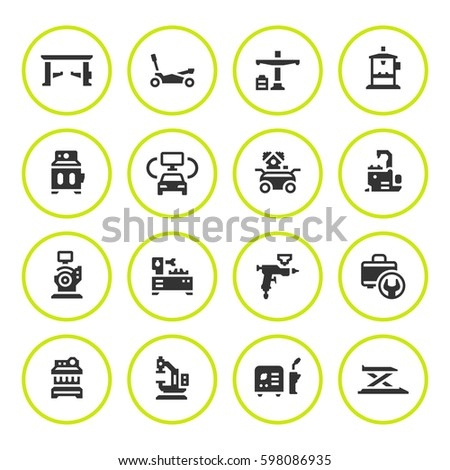 Set round icons of car service equipment