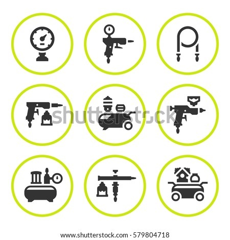 Set round icons of compressor and accessories