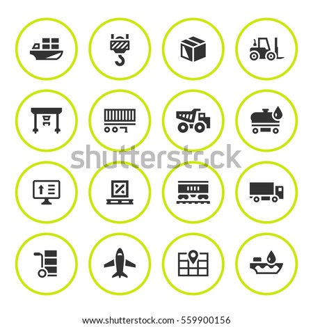 Set round icons of logistic
