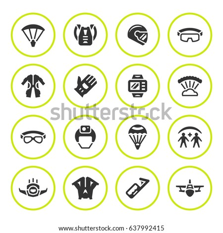 Set round icons of parachute