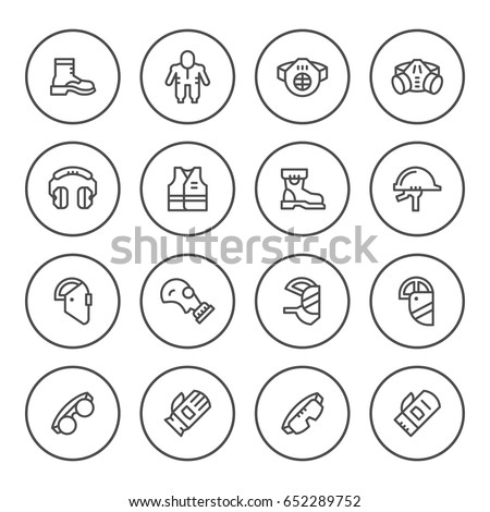 Set round line icons of protecting equipment