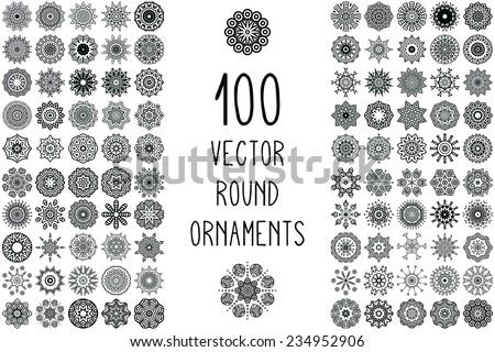 Set Round Ornament Pattern Snowflakes Vintage Decorative Elements Hand Drawn Background Islam