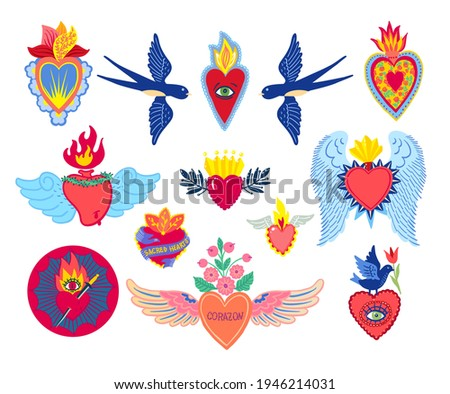 Set Sacred Heart of Jesus print old school tattoo style. Mexican corazon heart. Hand drawn vector for T-shirt, vintage poster. Spirituality, religion, Christianity, Catholicism, alchemy, occultism. Foto stock ©