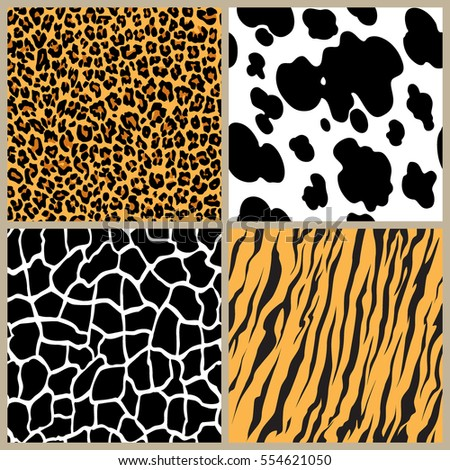 set safari jungle animal fur stripe animals bengal tiger giraffe zebra cow texture pattern seamless repeating white black orange brown