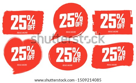 Set Sale 25% off banners, discount tags design template, extra promo, brush grunge, app icons, vector illustration Foto stock ©