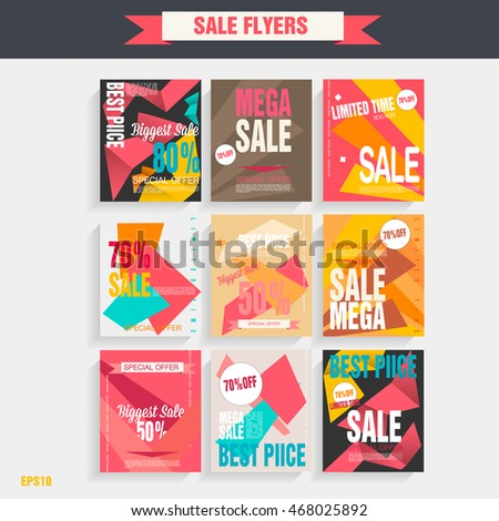 Set sale poster with percent discount. Geometric design. Special offer vector illustration. #468025892