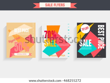 Set sale poster with percent discount. Geometric design. Special offer vector illustration. #468255272