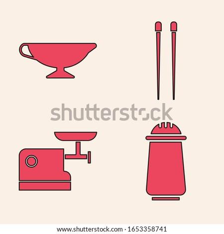 Set Salt and pepper, Sauce boat, Food chopsticks and Kitchen meat grinder icon. Vector