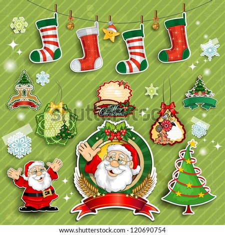 Set Santa Claus and labels on green background transparency blending effects