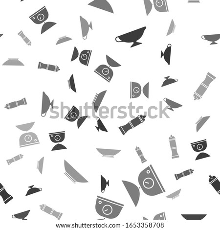 Set Sauce boat, Scales, Pepper and Bowl on seamless pattern. Vector