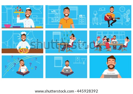 set scenes character man. Flat Motion graphics