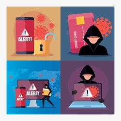 set scenes, hacker with devices electronics during covid 19 pandemic vector illustration design