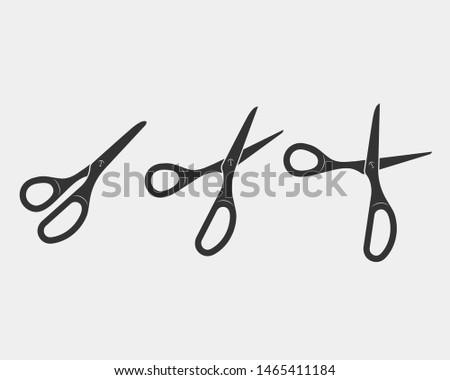 Set scissor icon. Scissors vector design element or logo template. Black and white silhouette isolated.