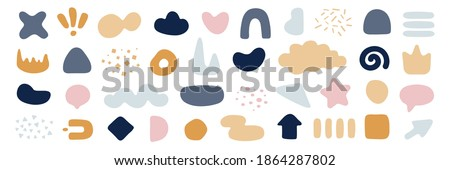 set scribble elements on flat style isolated on white.set primitive elements pastel shades isolated.Set of kid abstract shaps on pastel colors.Set of fluid abstract shapes in trendy minimal design