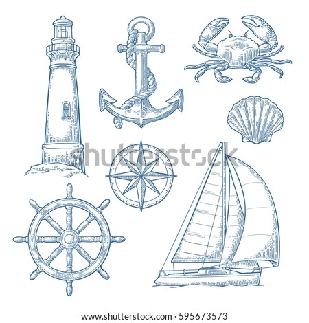 Set sea adventure. Anchor, wheel, sailing ship, compass rose, shell, crab, lighthouse isolated on white background. Vector blue vintage engraving illustration. For poster yacht club.