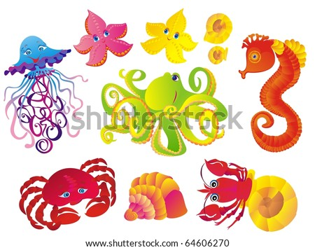 Set sea animals. Jellyfish, octopus, marine, cancer, starfish, crab on a white background. Vector - stock vector