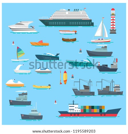 set sea boats vector illustration