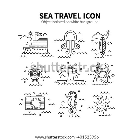 Stock Photo Set Sea symbols made in trendy line style vector. Summer adventure emblem. Nautical design elements isolated on background. Clean and minimalistic design symbols. Ocean concept.