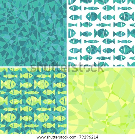 Set seamless a background a turquoise mosaic with small fishes - stock vector