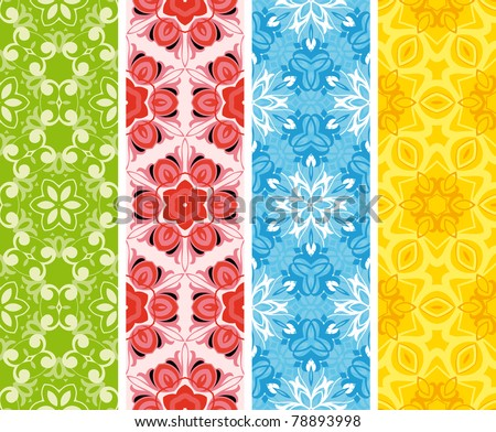 Set seamless  floral pattern - stock vector