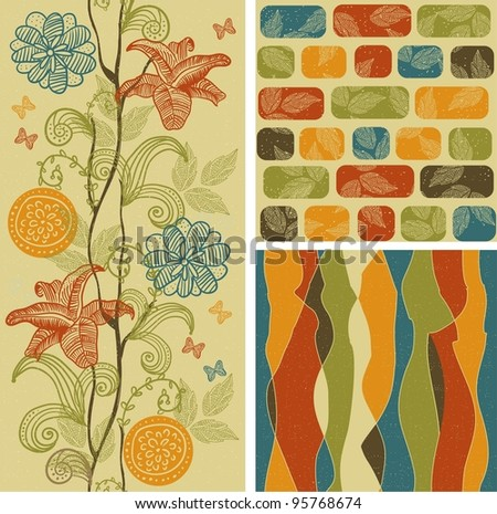 set seamless floral patterns