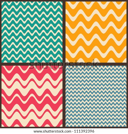 Set. Seamless geometric abstract pattern with zigzags. Can be used in textiles, for book design, website background.