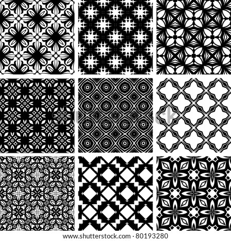 Set seamless geometric floral pattern. Vector, illustration