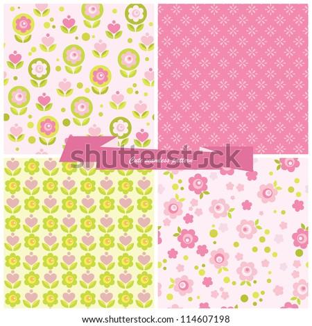 set seamless pattern flowers