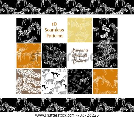 Set Seamless pattern with savanna animals colours. Hand drawn vector cheetah, leopard, zebra and giraffe in safari park