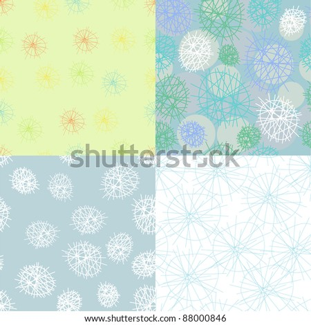 set seamless patterns of abstract snowflakes