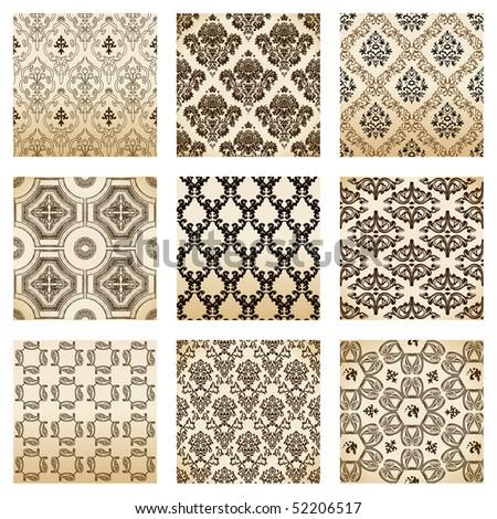 set seamless wallpaper old flower decorative vintage. Vector illustration - stock vector