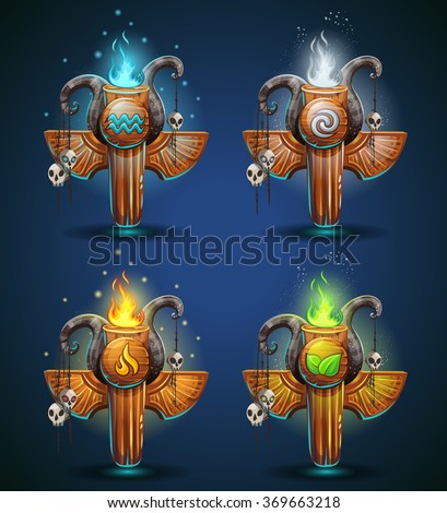 set shaman totems   symbols of
