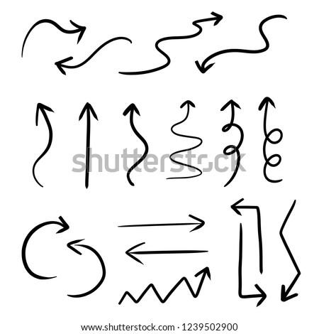 Set shape of arrow. Swirl and straight arrow vector.