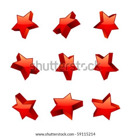 Set shiny 3d red stars