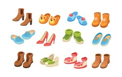 Set shoes. Comfortable kids and adult footwear for activity walking outdoor, domestic, beach recreation, doing sports. Footgear pairs, house slippers, sneakers, sandals, flip flops cartoon vector