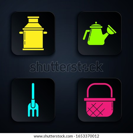 Set Shopping basket, Can container for milk, Garden rake and Watering can. Black square button. Vector