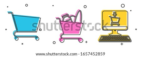 Set Shopping cart, Shopping cart and food and Shopping cart on screen computer icon. Vector