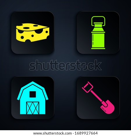 Set Shovel, Cheese, Farm House concept and Can container for milk. Black square button. Vector