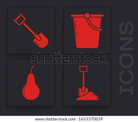 Set Shovel in the ground, Shovel, Bucket and Pear icon. Vector