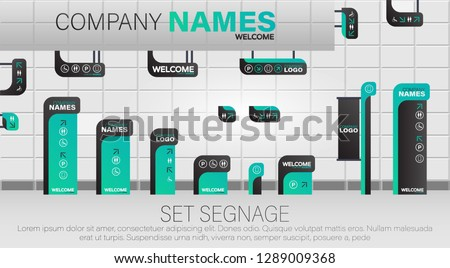 Set signage. A set of signboards for business. A set of outdoor and indoor signs for advertising.  Office exterior monument sign, pylon sign, signage, advertising construction.
