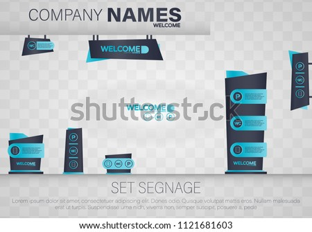 Set signage.Direction,pole, wall mount and traffic signage system design template set.Exterior and interior signage concep. Office exterior monument sign, pylon sign, signage, advertising construction.