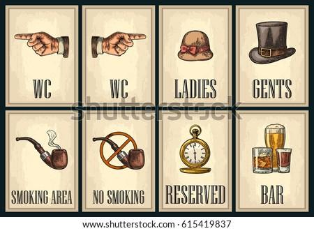 set signboard. pointing finger. ...