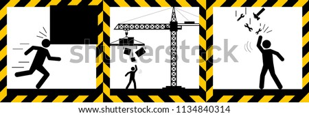Set signs warning,Falling objects,mind your head sign,illustration vector eps10. stock photo