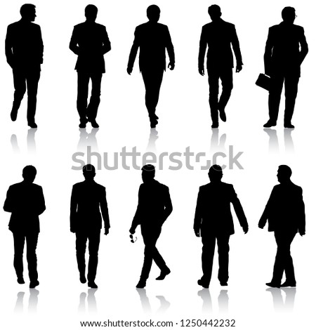 Set silhouette businessman man in suit on a white background