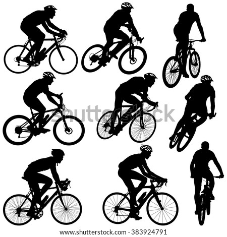 Set silhouette of a cyclist male and female.  vector illustration.