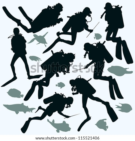 Set silhouette of diver and fish