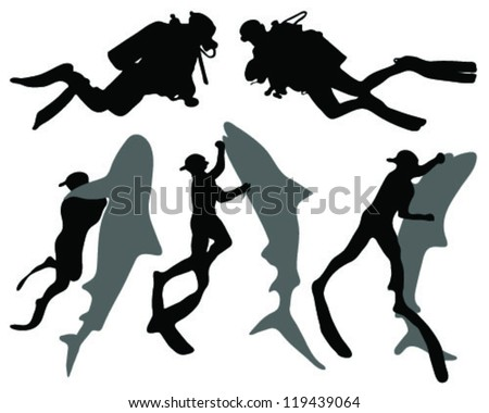 Set silhouette of diver-vector